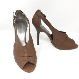 Marc Fisher Genuine Leather Peep-Toe Pump Heels